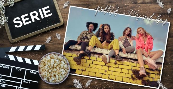 Passion of Arts, Seriencover, Serie, Coverbild zu Para - Wir sind King, die 4 Mädchen sitzen auf einer gelben Mauer
